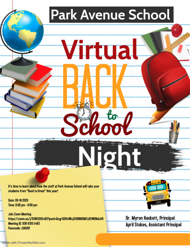 Virtual Back tp School Night - Friday, September 18, 2020, from 6:00 PM - 8:00 PM