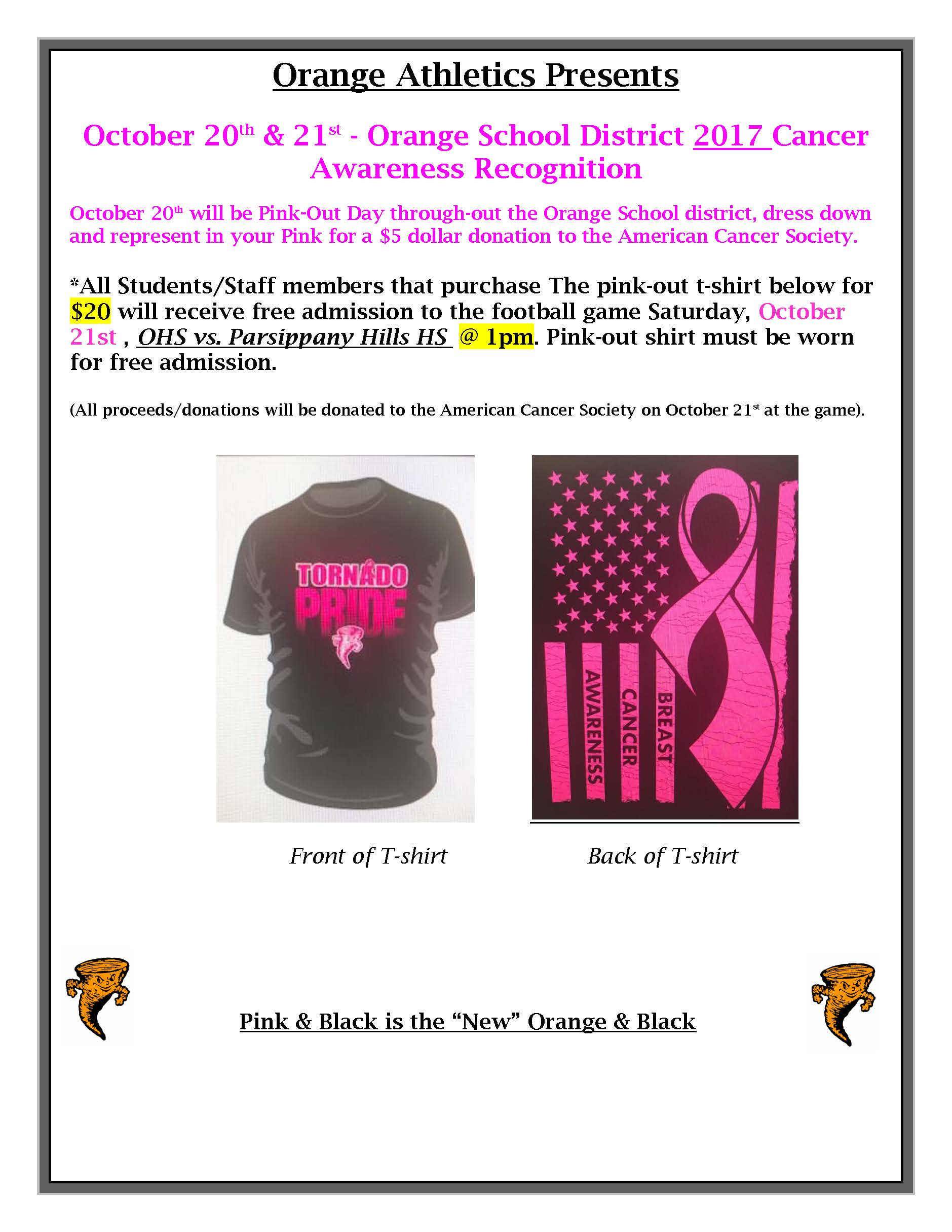 Pink Out Cancer Awareness Recognition