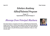 Scholars Academy, Gifted and Talented Program - Winter 2021 Newsletter
