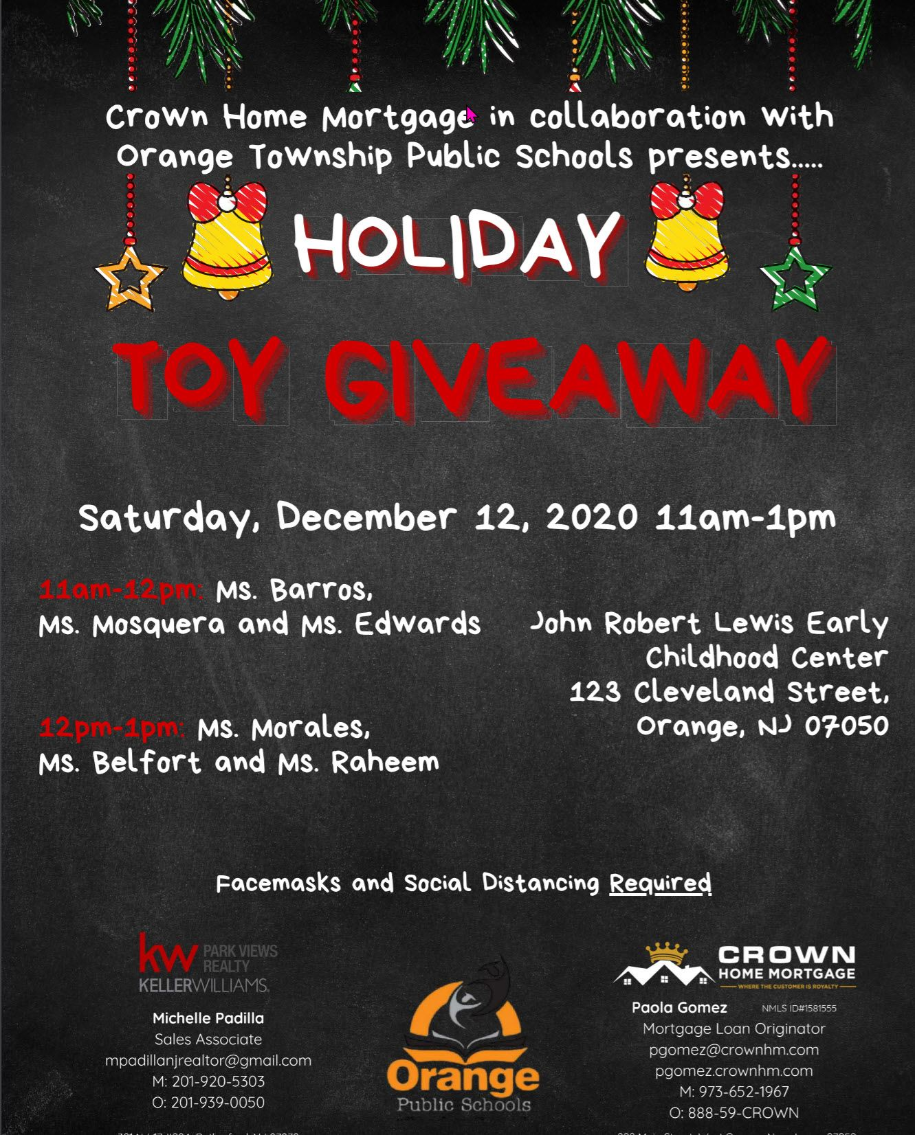 Holiday Toy Giveaway December 12, 2020 11:00 am -1 pm
