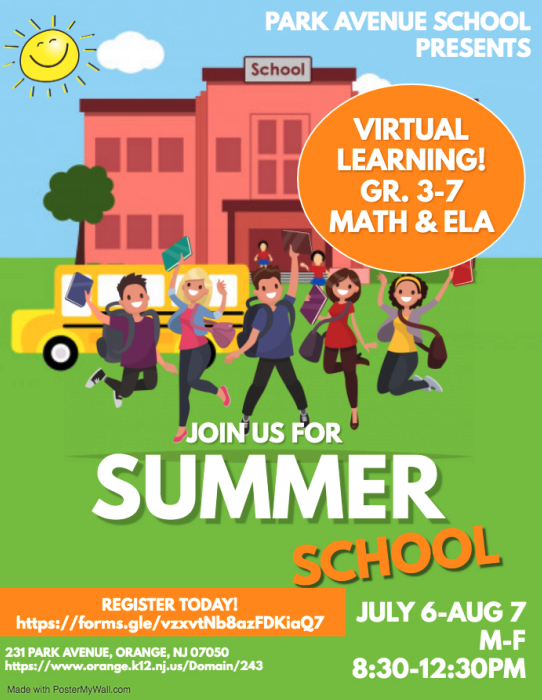 Virtual Summer School for Grades 3-7 in ELA & Math for Park Avenue School students