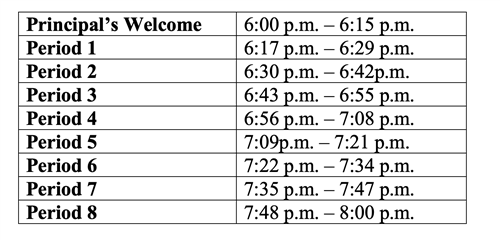 Back to School Night Schedule