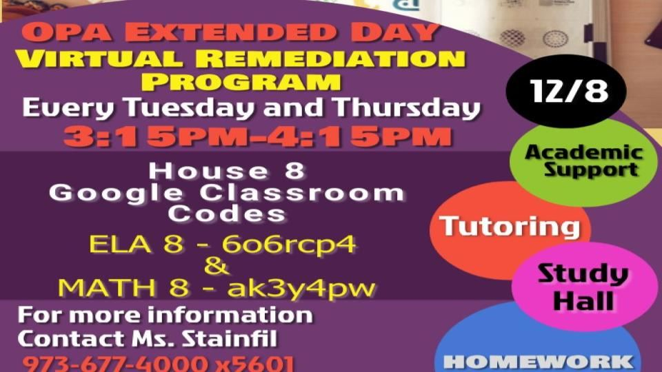 Virtual Extended Day for Students on Tuesdays and Thursdays