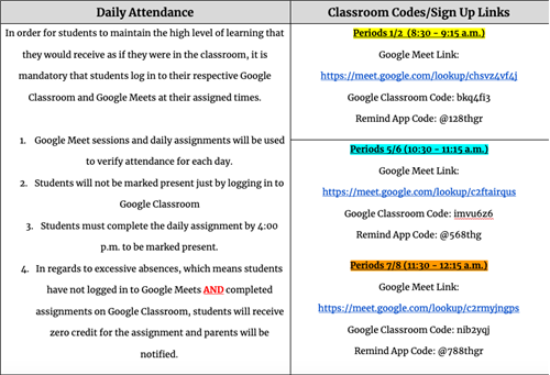Daily Attendance & Classroom Codes