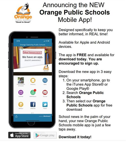 Download our new Orange Public School Mobile App!