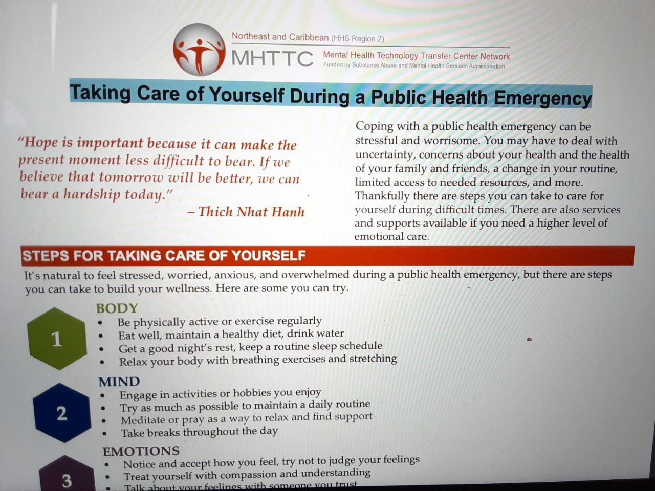Taking Care of Yourself During a Public Health Emergency
