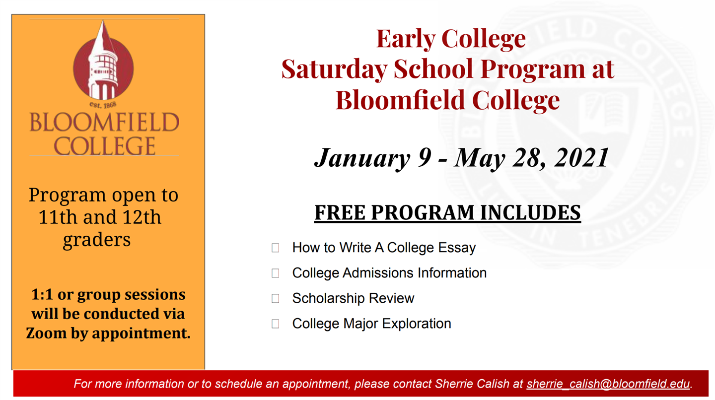 Early College Saturday School Program @ Bloomfield College