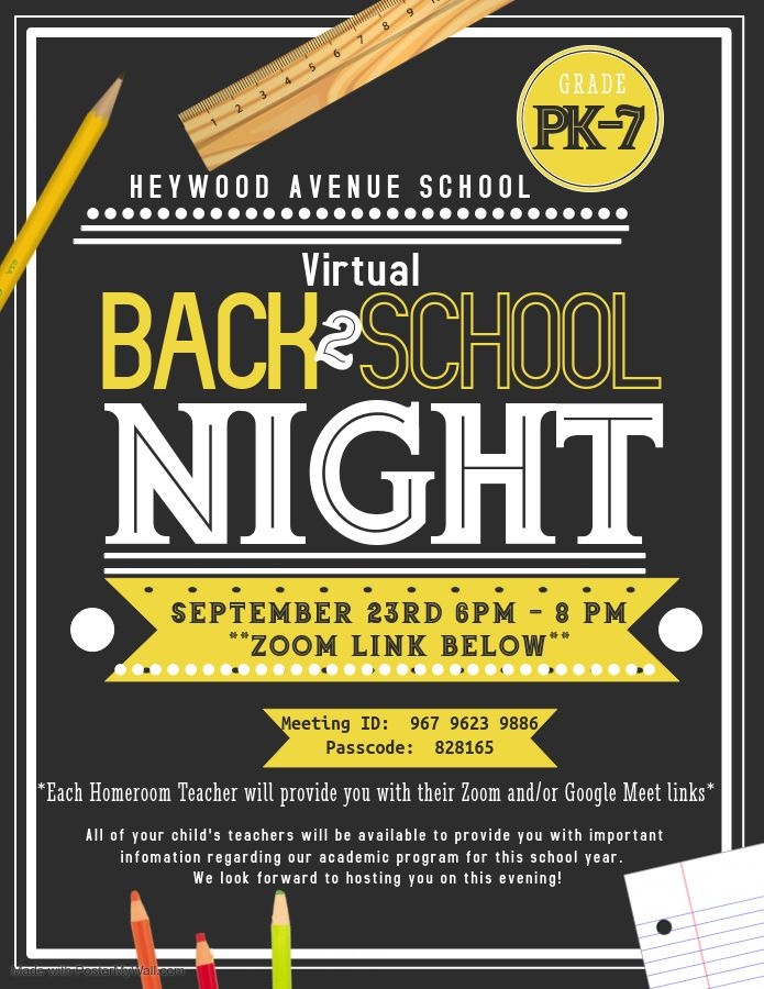Back to School Night 9/23/2000 6:00-8:00 PM