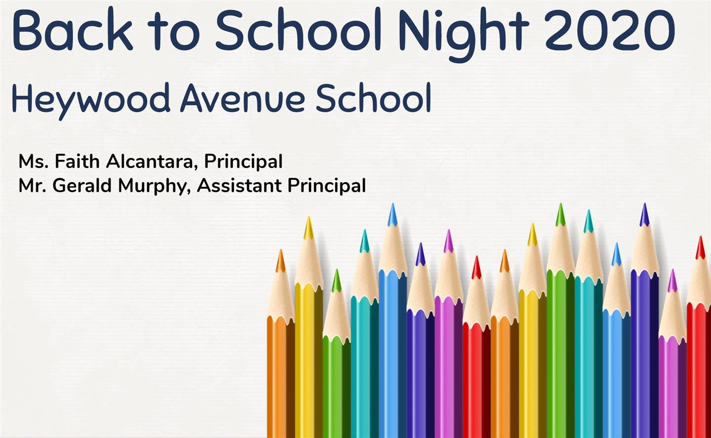Heywood Back to School Night Presentation