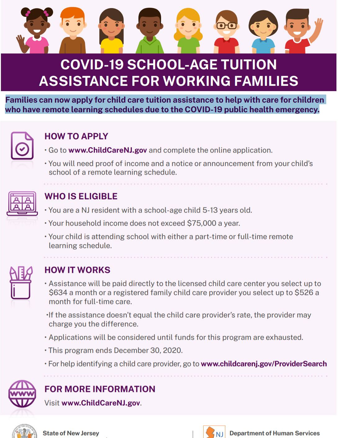 Families can now apply for child care tuition assistance to help with care for children who have remote learning schedules due to the COVID-19 public health emergency.